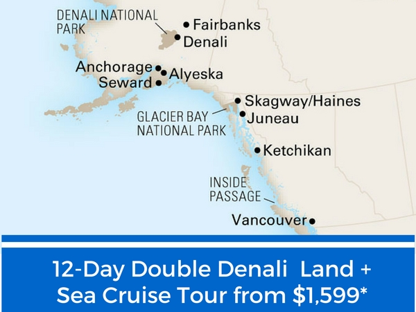 12-Day Double Denali Land and Sea Cruise Tour includes a night in Anchorage, Alaska