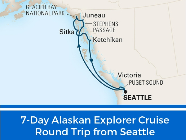 7-day Alaskan Explorer Cruise RT Seattle